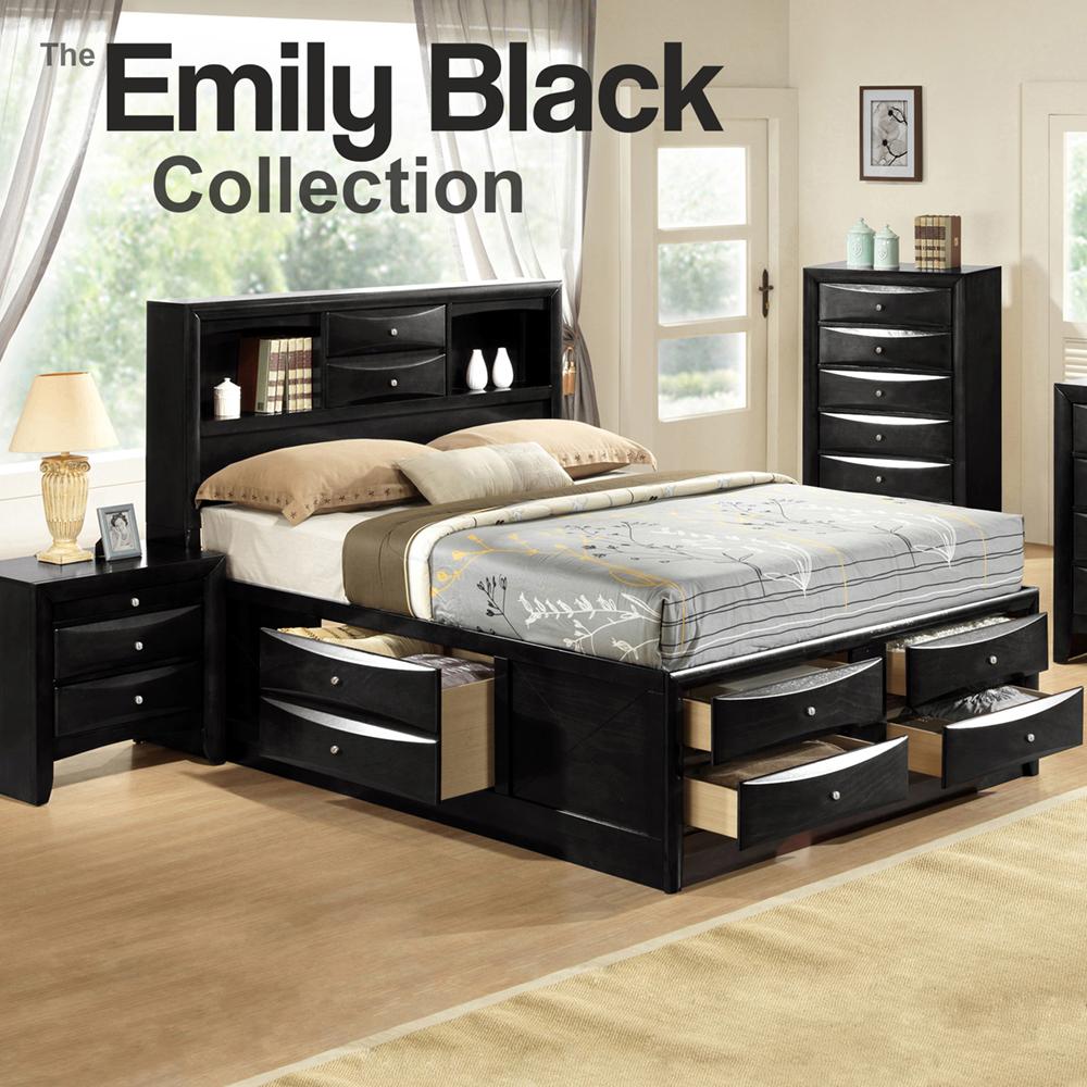 Emily Queen Storge Bedroom Set Black