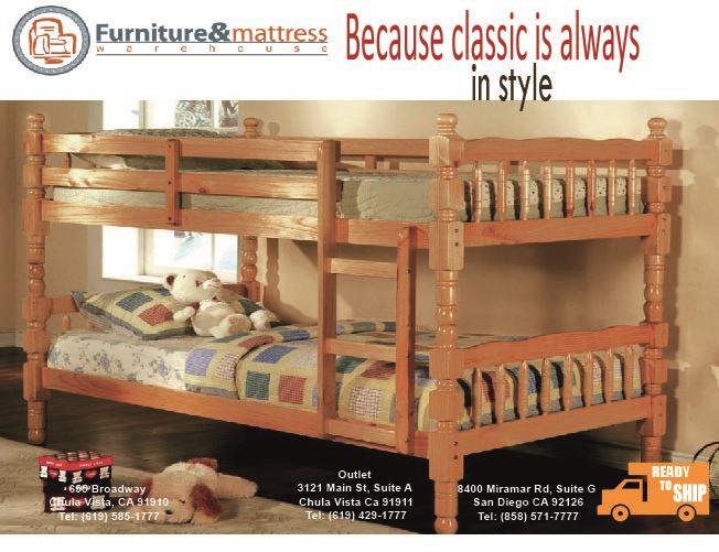 Catalina Twin Twin Bunk Bed Oak