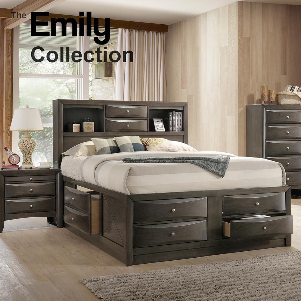 Emily Queen Storage Bedroom Grey Color