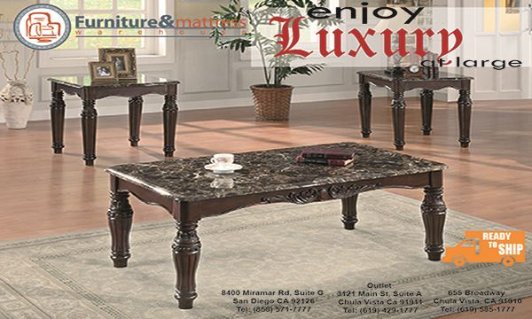 Victoria 3 pc Faux marble top occassional table set