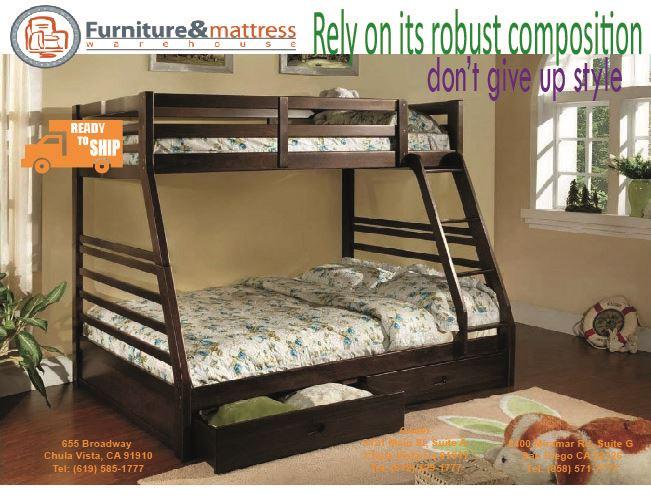California Twin over Full Bunk Bed Esspresso Finish w/ Drawers