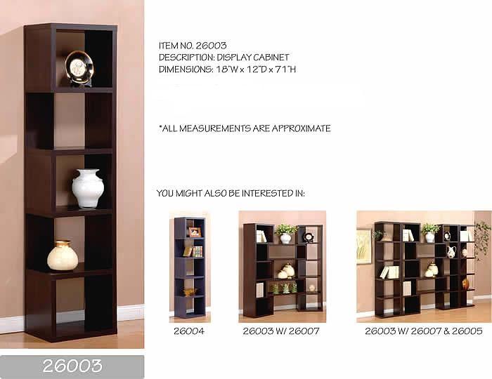 End Book Case Cabinet Espresso Finish