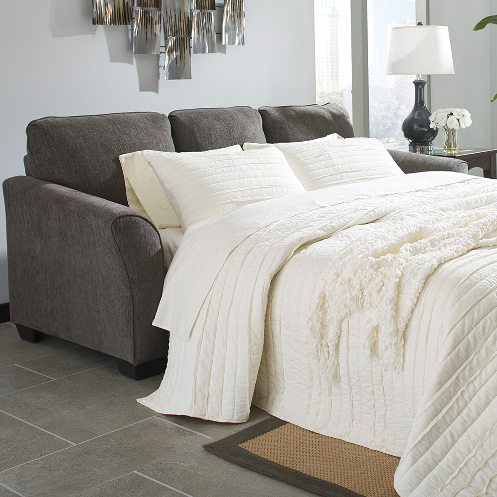 BC84168SB Slate Reversible Sofa-Chaise w/Queen Memory Foam Sleeper
