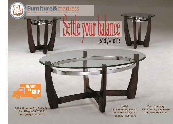 Mitchell Cocktail 3pc Set Coffee and End Tables