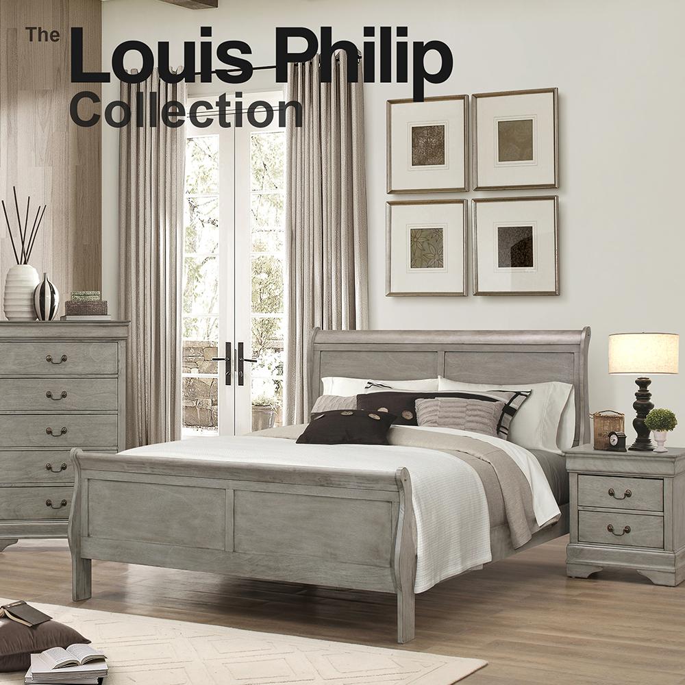 Louis Philip Queen Bedroom Set Grey