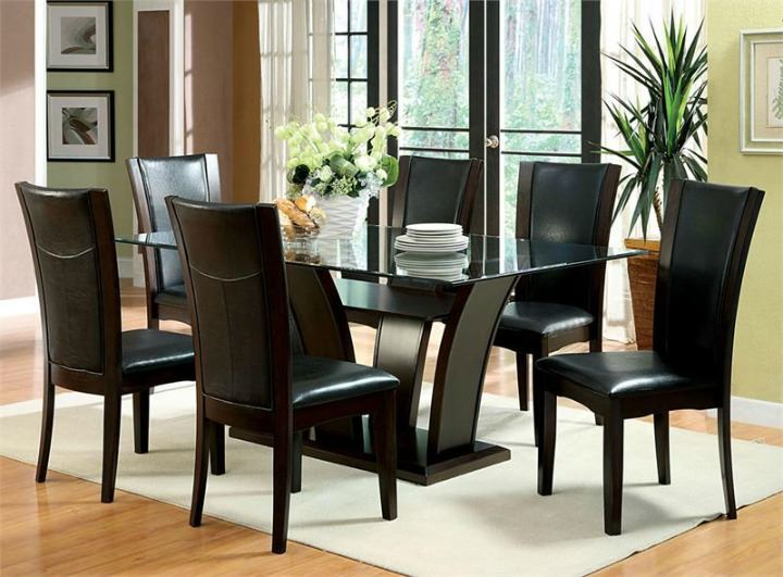 Manhattan  7pc Glass Cappuccino Dining Table Set