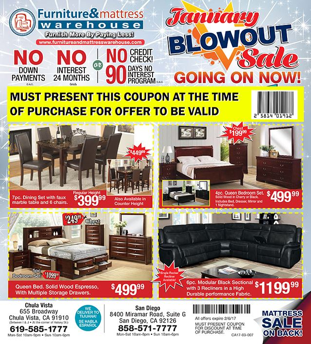January Blowout Sale Promo  MUST PRESENT COUPON AT TIME OF SALE