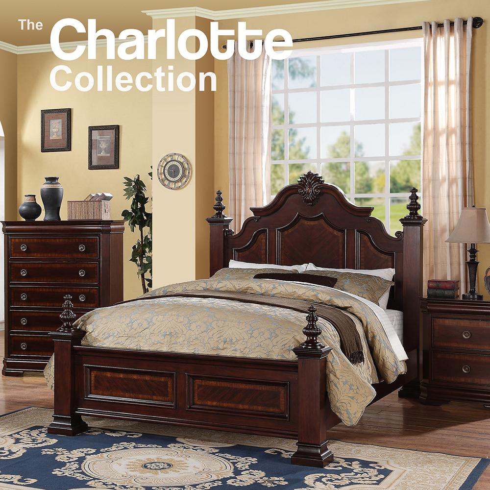 Crown Mark Charlotte Queen 4pc Bedroom Set (QB, Dresser, Mirror, Night Stand)