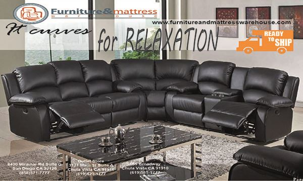 The 2000 Demsey 3pc Sectional Black Bonded Leather