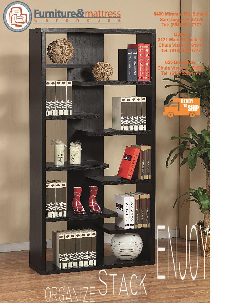 Rectangular Book Case Cabinet Black Finish