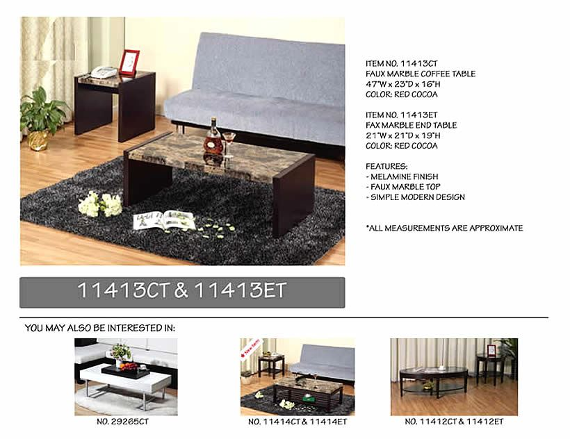Klingsbo 2pc Faux Marble Coffe and End Table
