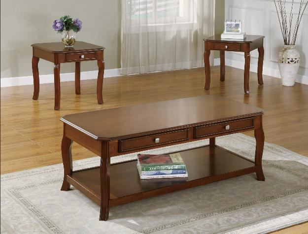 Whittier Cockta 3pc Coffee Table and End Tables