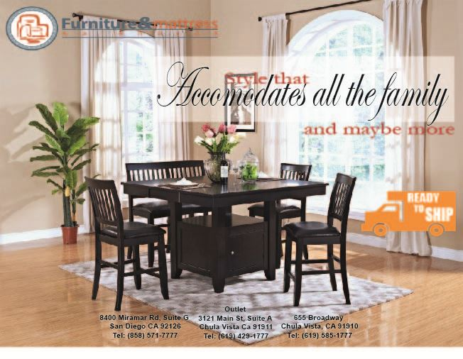 Kaylee 6pc Counter Height Dining Set Espresso Finish