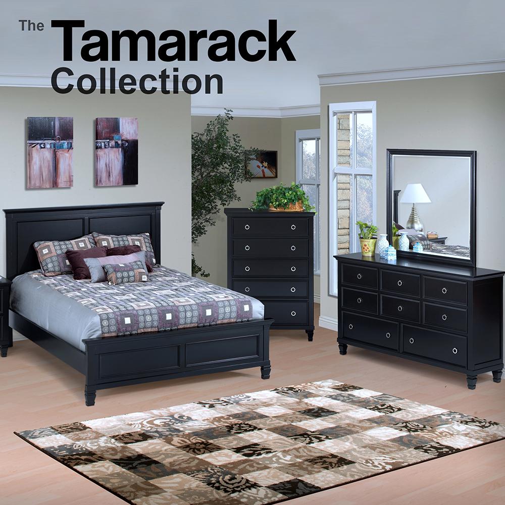 New Classic Tamarack Black 4pc set w/Queen Bed, Dresser, Mirror, and 1 Nightstand