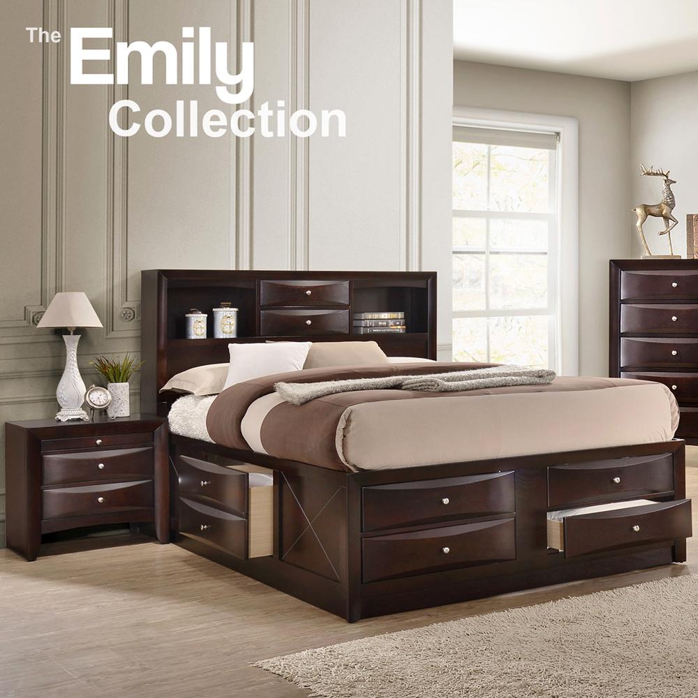 Emily Queen Storage Bedroom Set Esspresso