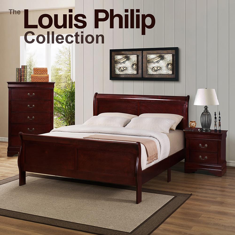 Louis Philip Cherry Queen Bedroom Set
