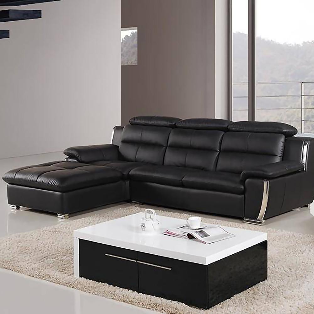 Italia Sofa Chaise and Chair Sectional Black w/ Chrome Trim