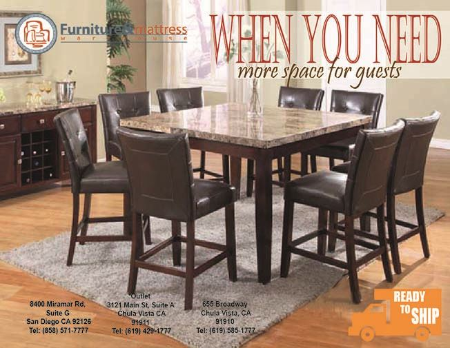 Granada 7pc Counter Height Real Marble Dining Table Capuccino