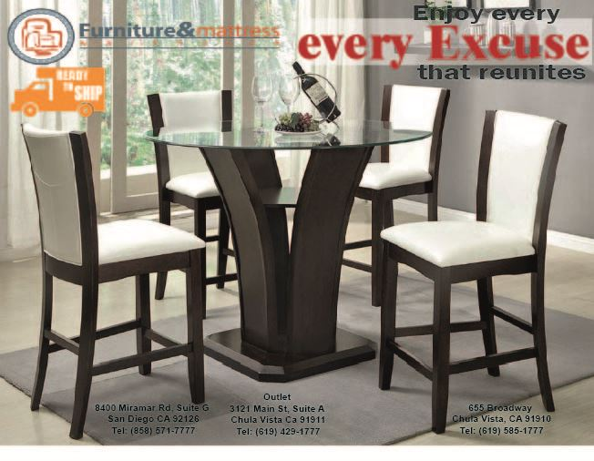 Camelia III 5pc Glass Pub Round Cappuccino Dining Table Set