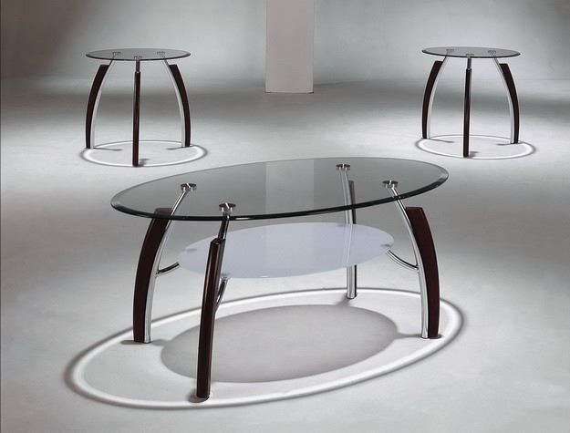 Stellar 3pc Glass Coffee Table and End Tables