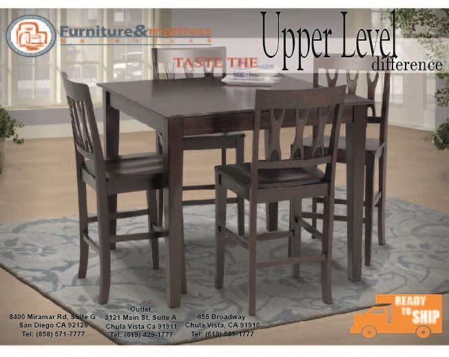 Abbie 5pc  Counter Height Dining Set Cherry Finish