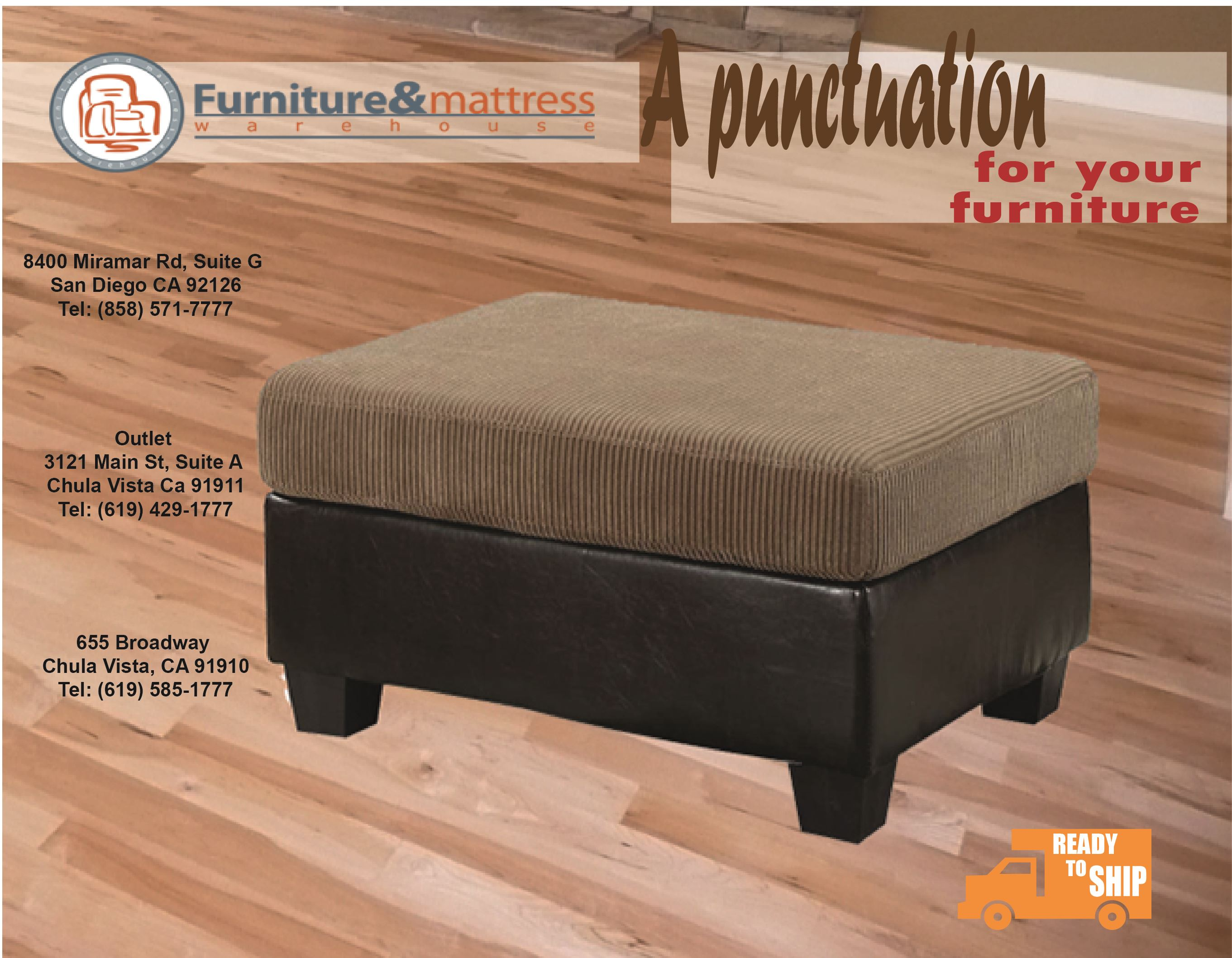 Connell Contemporary Light Brown Ottoman